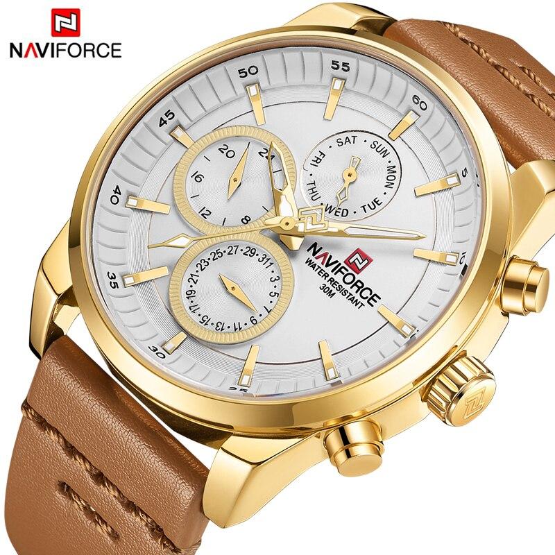 купить NAVIFORCE New Fashion Mens Watches Military Sport Quartz Men Watch Gold Leather Waterproof Male Wristwatches Relogio Masculino по цене 1699.26 рублей