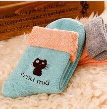 1pair Women Autumn Winter Essentials Cotton Super Warm Socks Casual Terry-loop Hosiery (C034)