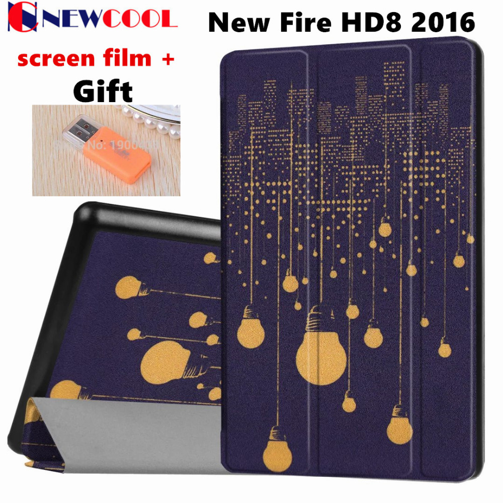NEWCOOL Flip Cover PU Leather Case For Amazon New Kindle Fire HD 8 HD8 2016 Tablet Tablet Protective Case Shell +Gift