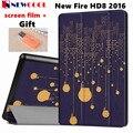 Newcool flip cubierta de la pu funda de piel para amazon nuevo kindle HD fuego 8 HD8 2016 Tableta Tableta Estuche protector Cáscara + regalo