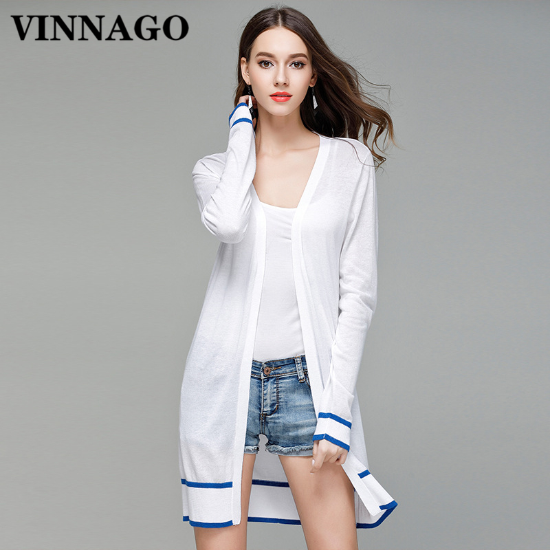 VINNAGO Autumn Spring Summer Women Cardigan Thin Casual White ...