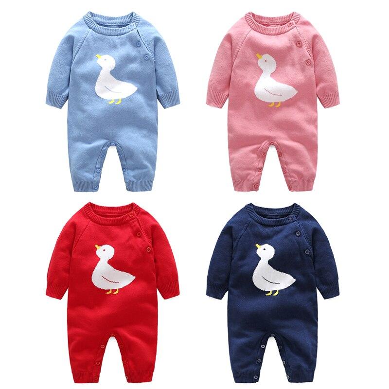 Herzhaft 2019 Neue Baby Pullover Neugeborenen Strampler Cartoon Ente Baby Krabbeln Runde Kragen Outfit Kid Kleinkind Oberbekleidung Baby Kleidung GroßE Vielfalt
