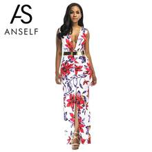 Anself Floral Print Maxi Dress Thigh Split Sleeveless V Neck Summer  Floor-length Dress Cusual Beach Long Women Belted Sundress 6cd50724d655