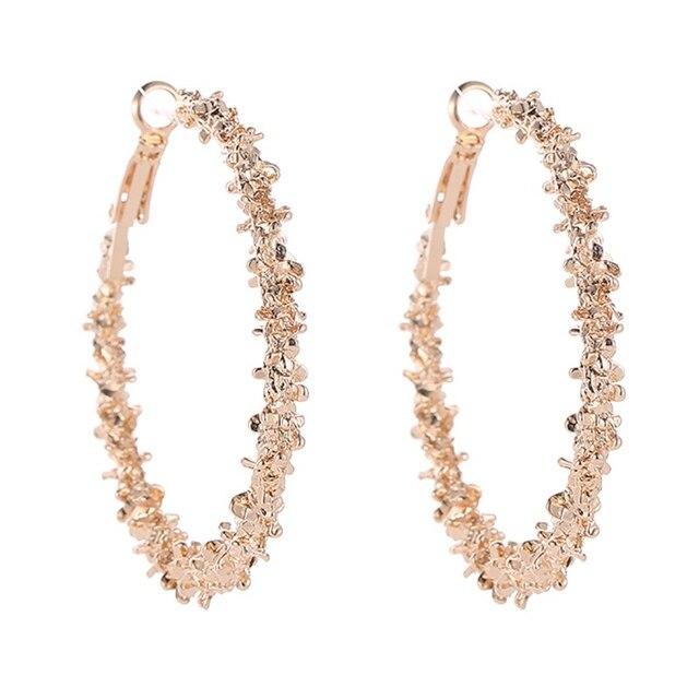 Elegant Jewelry Colorful Charm Austrian Crystal Hoop Earrings Geometric Round Shiny Rhinestone Big Circle Earring Bijoux