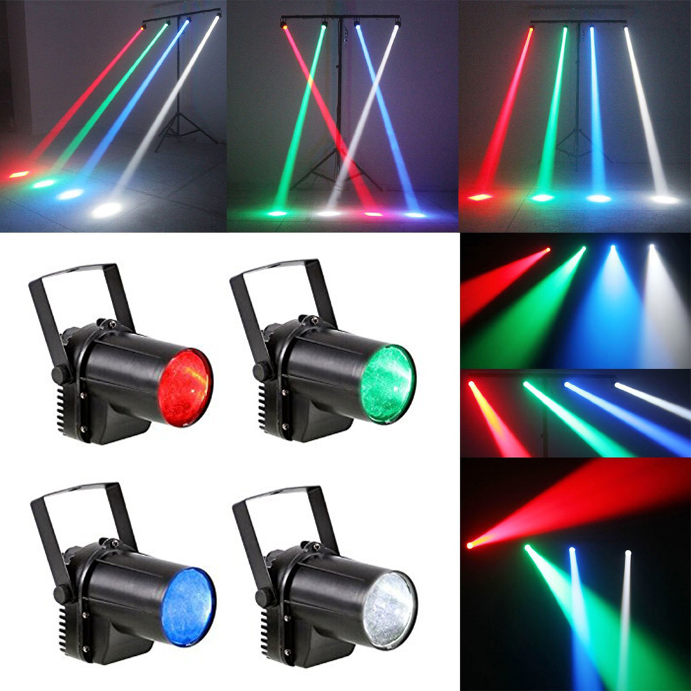 4PC/LOT 3-Watt LED Spot Projection Light RGB 4-Color Stage Lighting Party Disco Club DJ Bar Show Light EU US Plug High Top #LO china moka stage 4piece high power 250w rgb led co2 jets disco dj co2 equipment jet cannon machine for party disco night club