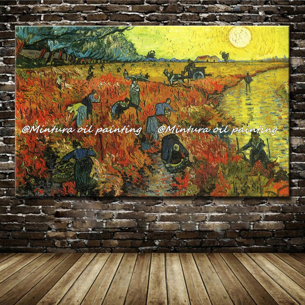 Vincent Van Gogh Oil Painting On Canvas The Red Vineyard At Arles 100% Hand Made Reproduction Wall Art Picture For Home DecorVincent Van Gogh Oil Painting On Canvas The Red Vineyard At Arles 100% Hand Made Reproduction Wall Art Picture For Home Decor