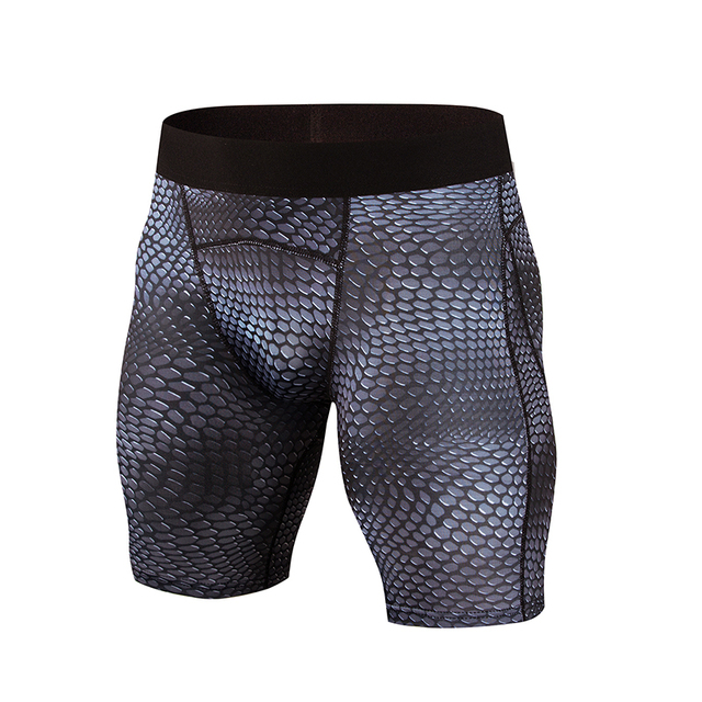 accd18b456 Snake Scale Print Quickly Dry Gym Sport Legging Crossfit Mens Shorts  Football Short Pant Jogging Compression Tight Running Short
