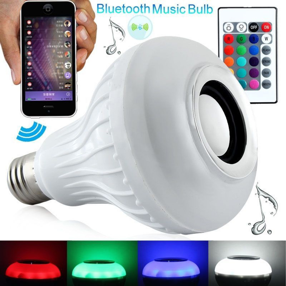 New Smart RGBW Wireless Bluetooth Speaker Bulb Music Playing Dimmable E27 LED Bulb Light Lamp with 24 Keys Remote Control