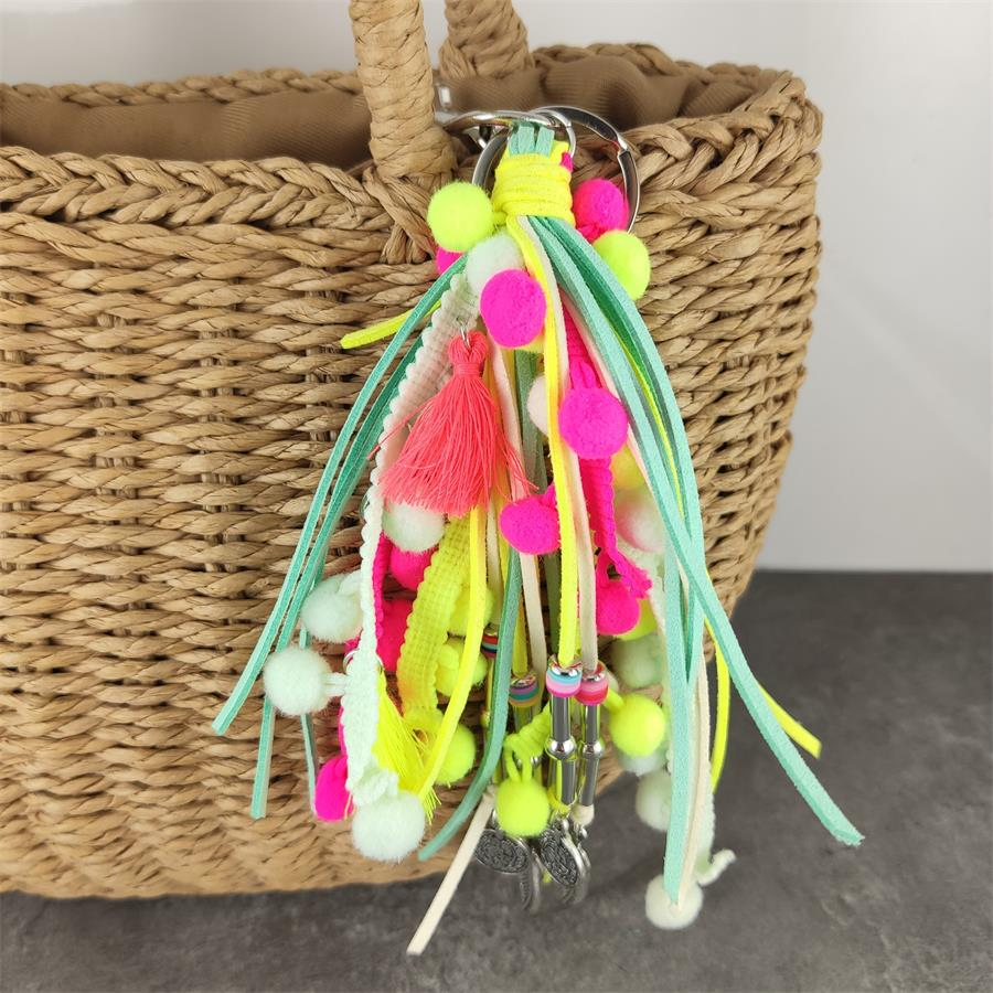 Women Cute <font><b>Pom</b></font> <font><b>Pom</b></font> Keychain Bag Charms With Tassel Purse Charms Boho <font><b>Keyring</b></font> Colorful Leather Pendent Beach keychain image