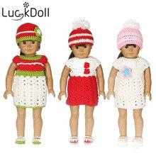 Luckdoll Knit Cap, robe, culottes, chaussures, ensemble de quatre pièces de poupée American Girl 18 pouces, meilleur cadeau d'anniversaire pour les enfants