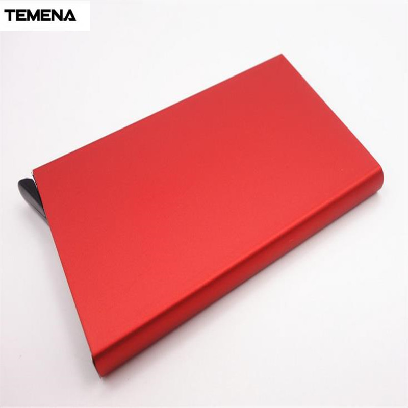 TEMENA Stainless Steel RFID Blocking Business Men Women Credit ID Card Holder Metal Card Case Travel Card Wallet BCH221 stainless steel aluminium metal case box men business credit card