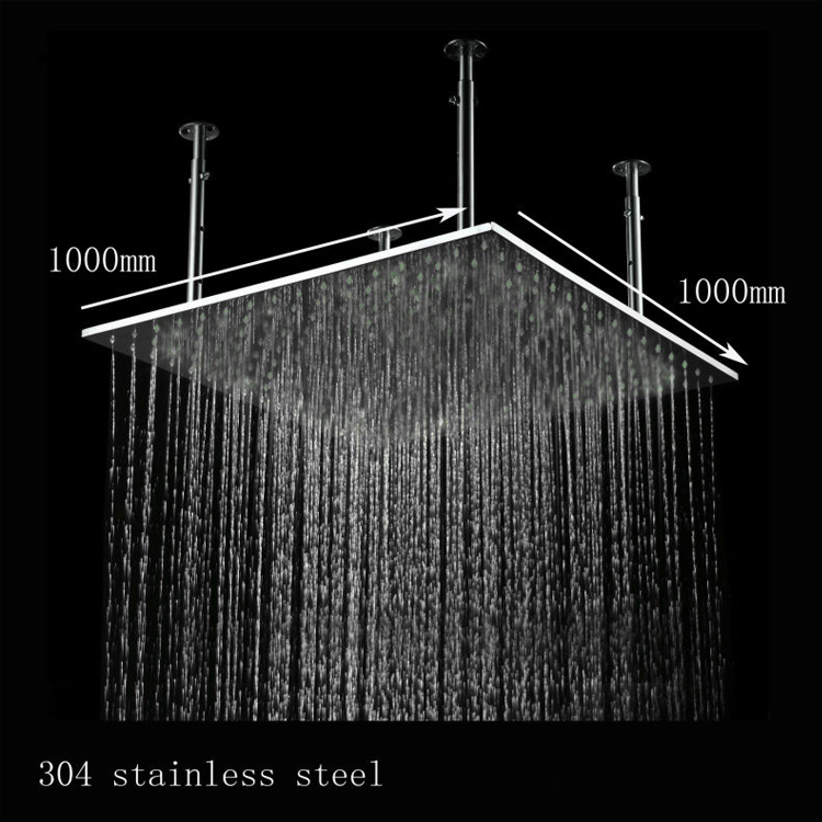 Luxury 1000mm 40 Inches Big Rain Overhead Shower Ceiling Mounted Bath Stainless Steel Inox Brushed Head Shower