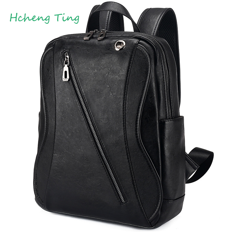 ФОТО New Men's Business Casual Men's Backpack Backpack Male Large Capacity Computer Bag Leather Travel Bag