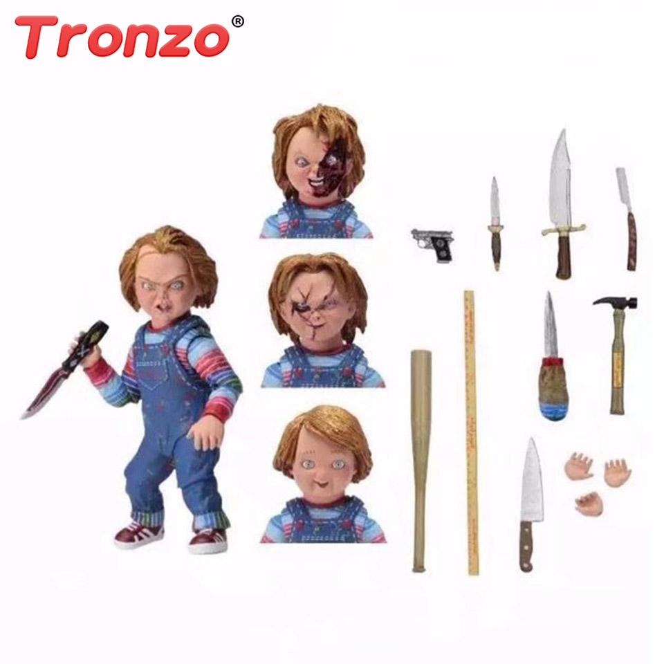Tronzo 16cm Child's Play Chucky Horror Figure Toys Movable Scary Doll Premium Deluxe Edition With Original Box Halloween Gift new hot 18cm one piece donquixote doflamingo action figure toys doll collection christmas gift with box minge3