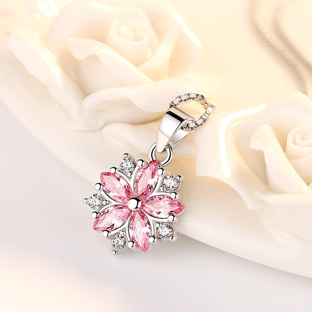 Luxury Cute Flower Pendant Necklace Women Female Fashion Pink White Cubic Zircon Crystal Long Chain Necklace Party Jewelry Gift