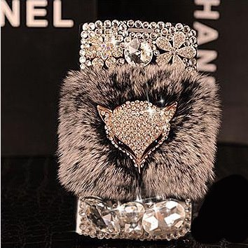 Wallet Leather Case Bag For iPhone 7 6 6S Plus Bling Diamond Rabbit Fur Case Fox Head Phone Case Cover For iPhone 8 Plus X Capa