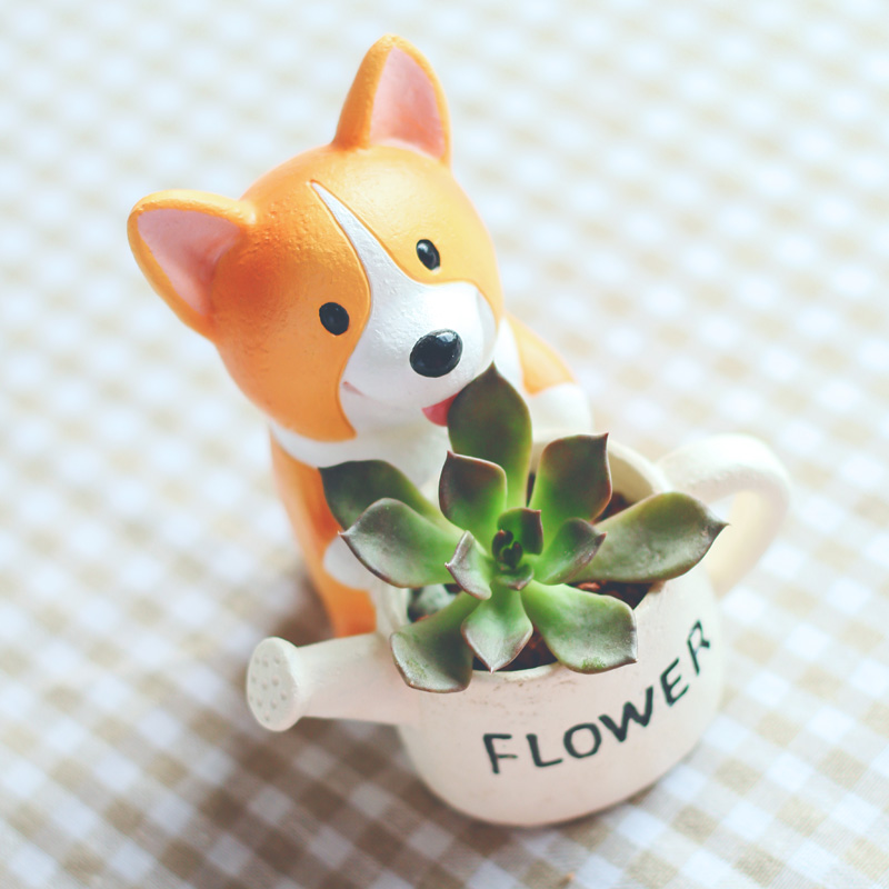 Mini Welsh Corgi DOG Plastic Plant Flower Pot Garden Home Decor Planter zakka