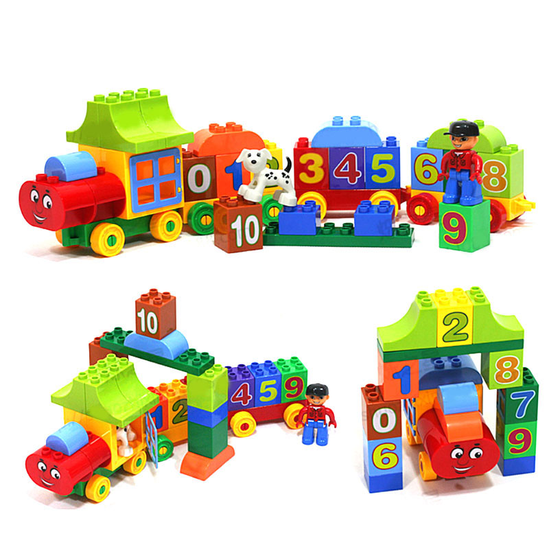 50Pcs Disassembly Assembly Train Toy Car Building Blocks Toys for Children Kids Learning Number Magic Castle Train Bricks Toys baseus hermit bracket case for iphone7 plus 5 5inch pink