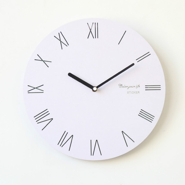 Modern Design Wooden Wall Clock Rome Digital Simple White Home Office Cafe Decoration Art Large Watch