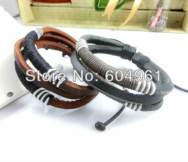 wholesale fashion Simple leather unisex weaving hemp handmade bracelet cuff bangle J0089