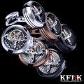 3 Colors KFLK 2017  jewelry shirt cufflink for mens Brand cuff buttons watch movement cuff link Top  Quality abotoaduras Jewelry