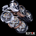 3 cores kflk 2017 movimento do relógio de jóias botão de punho da camisa para homens marca botões de punho cuff link abotoaduras jóias de qualidade superior