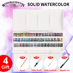 Imported Winsor&Newton Solid Watercolor Paints 12/16/24/45 Colors Half Pans Pigment Water Color Painting Set Art Supplies