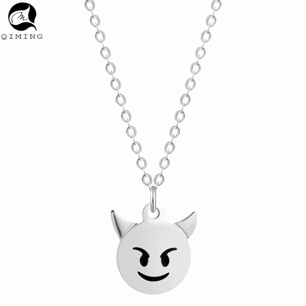 Small Devil Necklace Vintage Silver Stainless Steel Jewelry Accessories Monsters Pendant Women Baby Necklace