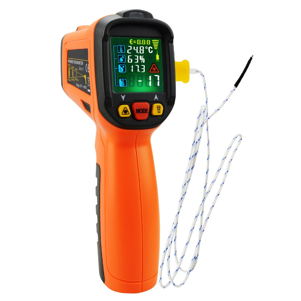 Non contact Infrared IR Laser Thermometer Temperature Gun w/ K Type Thermocouple & Humidity 50~800degreeC ( 58~1472degreeF)