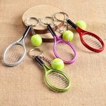 6 colors tennis racket keychain key ring tennis racquet key chain key holder creative portachiavi chaveiro llaveros mujer