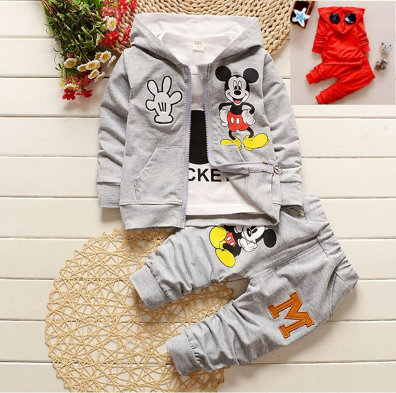 Новый Демисезонный Модная брендовая детская одежда для мальчиков и девочек комплекты для мальчиков Микки куртка + рубашка + Брюки для девоч... ...