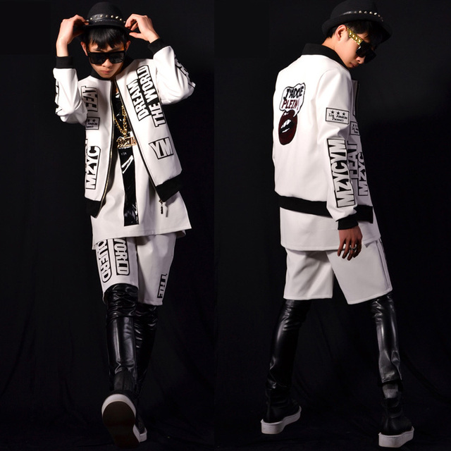 Mens Visual Kei Rockabilly White Dance Sexy Baseball Suit Set Coat