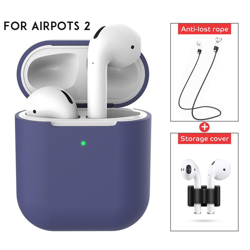 3 IN 1 Soft Liquid Silicone Wireless Earphone Case For Airpods 2 Apple Shell Accessories Cover Pouch Holder Anti-lost Strap