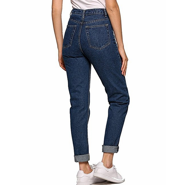 Vintage ladies boyfriend jeans for women mom high waisted jeans blue casual pencil trousers korean streetwear denim pants 5