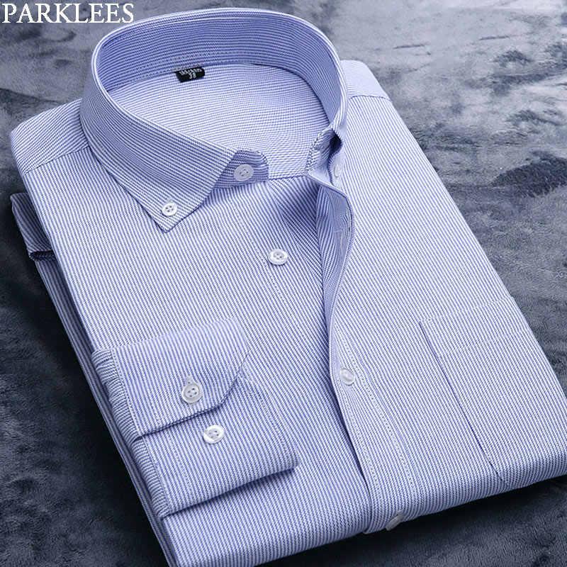 Черно-белая рубашка в полоску Мужская мягкая хлопковая рубашка оксфорд с длинным рукавом мужская полосатая рубашка на пуговицах Повседневная Мужская рубашка в деловом стиле Camisa