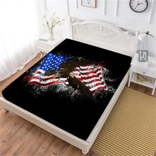 American Flag Bed Sheet Colorful Bald Eagle Printed Fitted Deep Pocket Bedding Polyester Bedclothes Independence Day