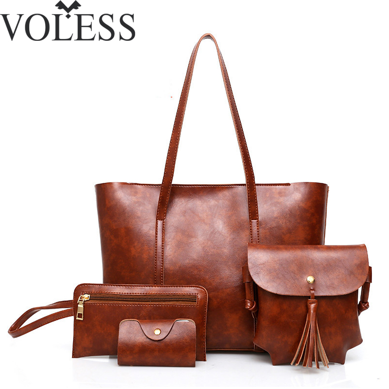 4Pcs/Sets Women Shoulder Bag Vintage Large Capacity Casual Tote Bag Women Leather Handbag Female Messenger Bags Women Bag Ladies
