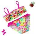 2015 Novo verão Europeu e Americano Estilo Flores Biquíni Crianças Swimwear Meninas Dividir Bikini Crianças Camada de Bolo Maiô
