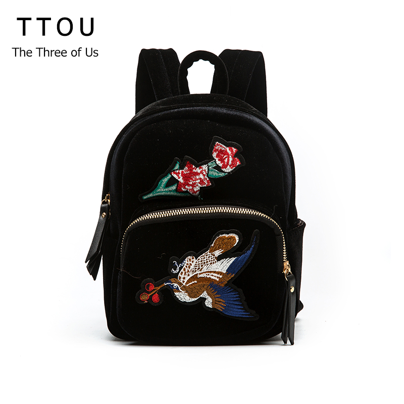 Ttou National Embroidery Women's Backpack For Adolescent Girls Small Printing Flower Bird Backpack For Children Travel Bagpacks