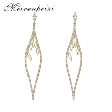 Meirenpeizi Gold And Silver Color Long Pendant Earrings Geometric Shape Personality Copper Zircon Jewelry