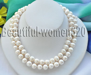 Z7103 2Strands 12mm white round Freshwater Cultured pearl necklace 17inch