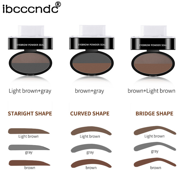 3 Colors Quick Makeup Eyebrow Powder Seal Waterproof Eyebrow Stamp Long lasting Eyebrow Shadow Set 3 Natural Shape Brow Stamp 4