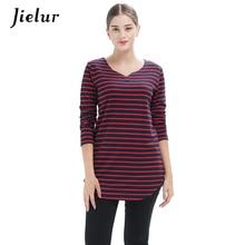 3c58dbc48c7 Jielur 2018 Spring Plus Size Black Red Long-sleeved Women s T-shirts  Striped V