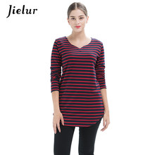 Jielur 2019 Spring Plus Size Black Red Long-sleeved Women's T-shirts Striped V-neck Simple Girl T-shirt Fashion Loose Tops S-4XL(China)