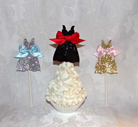 glitter dress shaped cupcake toppers bridal shower cupcake toppers wedding cupcake toppers wedding engagement