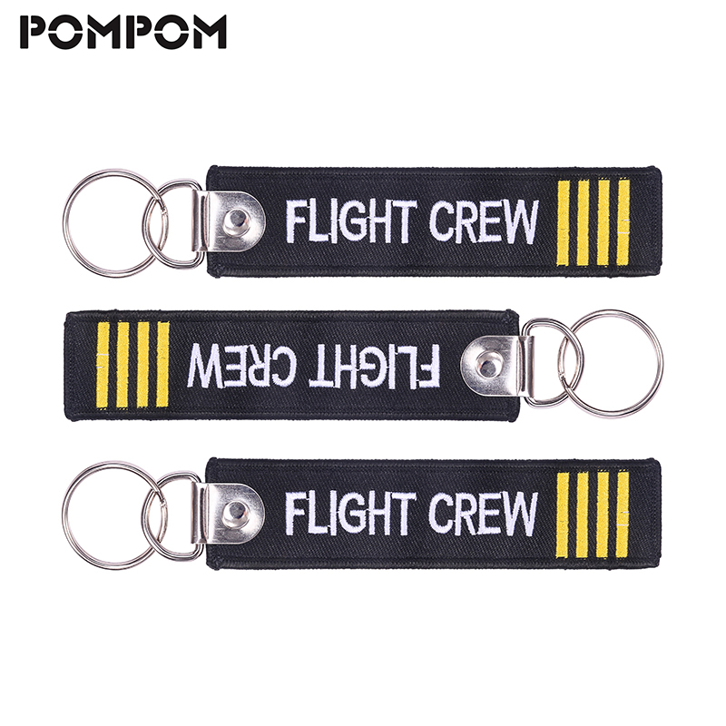Flight Crew Tag Aviamart® Pilot Keychain Luggage Tag 100% Embroidered