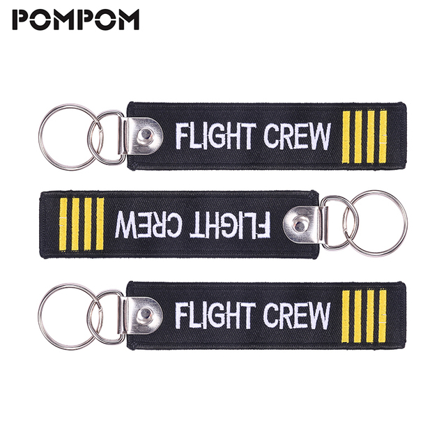 3 PCS/LOT Flight Crew Keychain Aviation Gifts for Pilot Key chain Embroidery Keychain Keying Crew Tag llaveros aviacion Jewelry