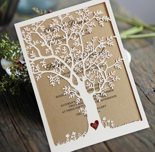 Laser Cut Tree Wedding Invitation Fall Cards Invite Rustic