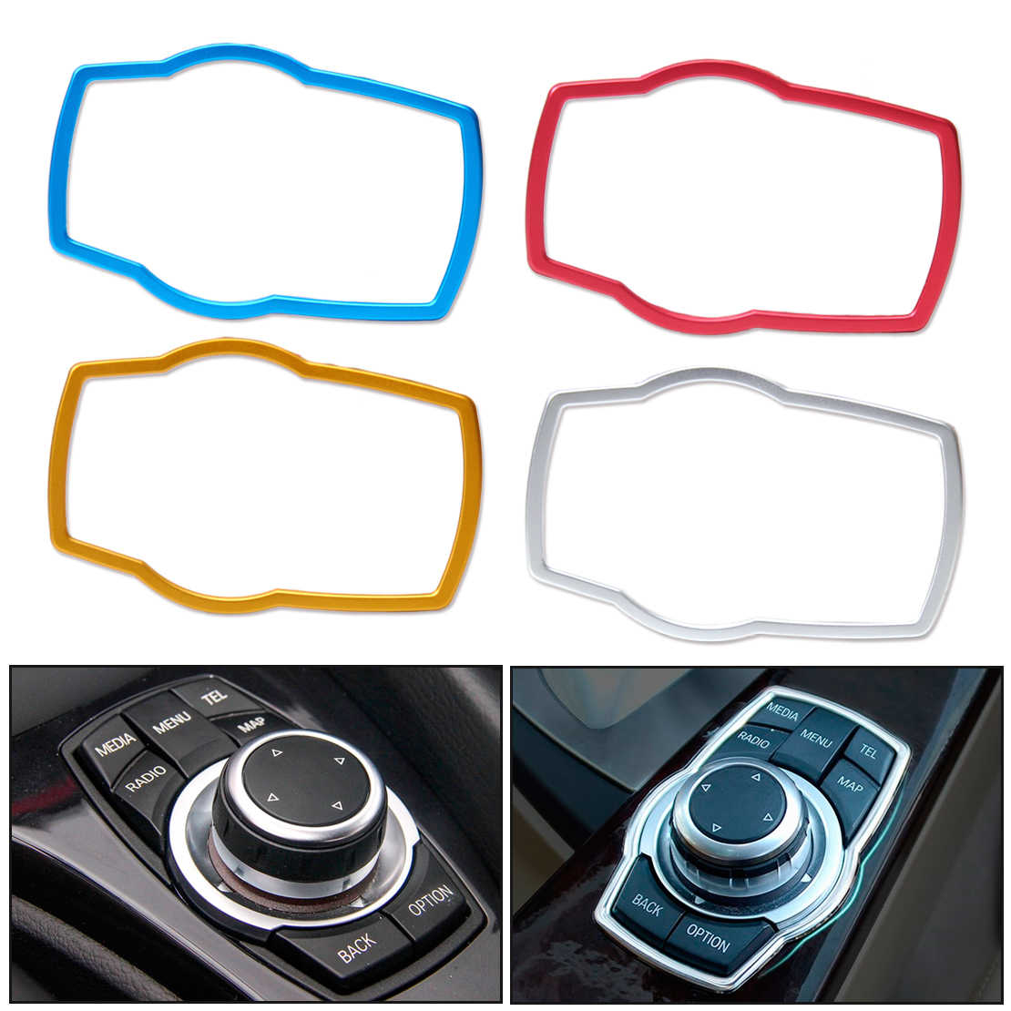 beler New Aluminum Alloy Car Interior Multimedia Button Cover Trim For BMW 1 / 3 / 4 / 5 / 7 Series X1 X3 X4 X5 X6 2013 2014