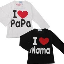 Простое папа мама любовь письмо коротким футболки хлопка ребенка рукавом и